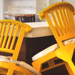Bar Stools 1 (G-daddyArt) Tags: aruba bar stool glasses yellow wood cushions canon50d