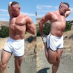 stretching (ddman_70) Tags: shirtless pecs abs muscle hiking hills stretching shortshorts