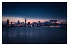 Liverpool Skyline (Geoff Moore UK) Tags: morning sunrise dawn water mersey river cityscape citylights buildings skyscrapers nightlight