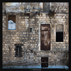 Pipes and Windows (Ilan Shacham) Tags: windows abstract square old architecture dilapidated door steel bricks fineart fineartphotography haifa israel pipes
