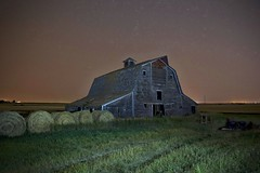Dalemead Barn #2 (John Andersen (JPAndersen images)) Tags: alberta barn dalemead farm fence prairie sky startrails summer sunset