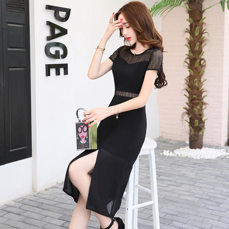 2017 New Ladies chiffon skirt Korean slim gauze dress in long sleeved temperament vent female summer