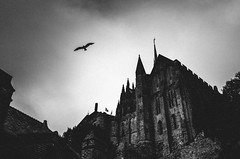 dark castle (matthias hämmerly) Tags: castle dark scary black white blackandwhite monochrom monochrome france bw blakcwhite street streetphotography french mont saint michel wings