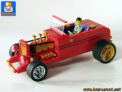 WIP RED HOT ROD 01 (baronsat) Tags: lego car moc custom hot rod muscle roadster old american classic dragster modify automobiles engine fast racing