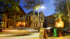 Blurry Photo (Exile on Ontario St) Tags: halifax night blurry shot photo photos picture scene nightshot nuit evening novascotia passerby passante passant car driving trafic flare flares lights light sky houses neighborhood neighbourhood walking sidewalk walk drive