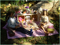 Picnic in the park (2.) (Mary (Mária)) Tags: barbie ken mattel fashion photography photoshoot piknik park dog outdoor scene diorama miniatures basket summer palette water model hervéléger jacksparrow johnnydepp flower flowerheadband pink pastel green lattern handmade marykorcek poodle camera romance roses date love