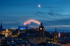 Moon and starburst [Explored 28/08/2017] (hazelhouliston) Tags: edinburgh festival tattoo fireworks skyline blue night sky moon rooftops
