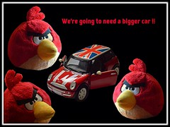 We're going to need a bigger car !! (rustyruth1959) Tags: ssc saturdayselfchallenge toys minicooper mini car angrybirds red black toy unionflag text doors creative funny