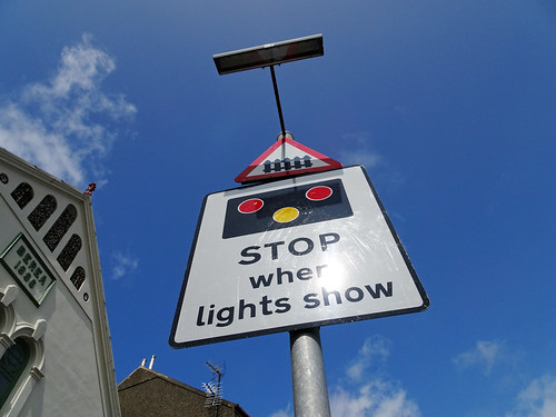 Level-crossing sign in Criccieth