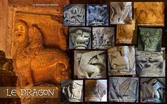 20a-Le dragon (olivierblaz) Tags: symbolisme sculpture romane art roman auvergne péchés capitaux vices vertus croyant église abbatiale cloître chapiteau chapiteaux colonne pierre monstres chimères