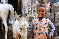boy with his donkey (felixkolbitz) Tags: sanaa yemen happiness happyarabia arabia arabiafelix jemen middleeast canoneos7d canon eos 7d architecture building old town city cityscape unescoheritage unesco heritage war conflict sunset sunshine light mud brick portrait donkey boy kid yemeni smile