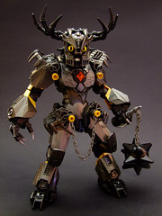 Krommaug the Defiler (Djokson) Tags: demon warrior knight armor flail mace spikes horns metal iron gold yellow djokson lego moc bionicle toy model