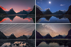 10 Hours of Milford Sound (hakannedjat) Tags: milfordsound milkyway stars sunset astro astrophotography startrails moon sony sonya7rii a7rii zeiss