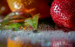 Water Drops. (K.Yemenjian Photography) Tags: water waterdrops drops fruits fruit beautyofnature reflection closeup macro strawberry lights canont5i canon700d canon creative fruitcollection orange colors colorful apertureprioritymode leaf leafs