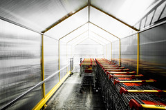 Choose Your Favorite (Thomas Listl) Tags: thomaslistl color wideangle ultrawideangle 14mm yellow red shoppingcart graphical architecture lines geometry