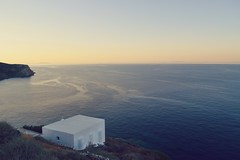 Day 228 : Is for ... The Infinity (Storyteller.....) Tags: infinity 365 deep365 blue orange pink dusk sunset dawn colours sea ocean mediterranean summer view rocks cliffs cycladic architecture sky horizon whitewashed church chapel