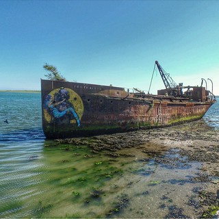 The Portlairge old steam sand dredger, St Kearns, Bannow Bay, Wexford, Ireland.