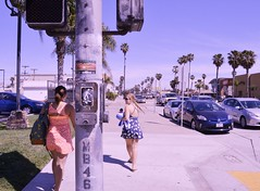 mission beach blvd (i threw a guitar at him.) Tags: 2015 california san diego mission beach vacation spring break travel sidewalk walking urban city stop light palm trees street cars traffic parked two girls girl laughing crossing