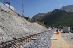 MGB - Station Nätschen Oberalp (Kecko) Tags: 2017 kecko switzerland swiss schweiz suisse svizzera innerschweiz zentralschweiz uri nätschen oberalp pass oberalppass matterhorngotthardbahn railway railroad mgb eisenbahn bahn bahnhof station gleis track baustelle constructionsite schmalspur zahnstange abt mountain swissphoto geotagged geo:lat=46642110 geo:lon=8612980