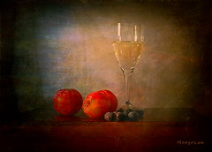 August Still Life ... (MargoLuc) Tags: summer fruits apricots blueberries wine glass droplets soft natural light table classic stilllife texture skeletalmess