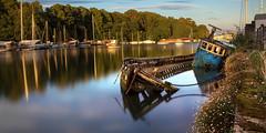 Penryn Wreck (Blue) (Andrew Hocking Photography) Tags: penryn river wreck boat sunken sinking sunk longexposure water cornwall kernow outdoor landscape evening hightide