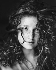Scarlett (Abigail Gorden) Tags: redhair blueeyes freckles summerskin angelkisses curlyhair naturalbeauty young youth headshot headshots headshotphotograph portrait portraits portraiture blackandwhite bnw