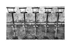 Bar stooled (CJS*64) Tags: cavtat croatia travel traveling blackwhite bw blackandwhite whiteblack whiteandblack mono monochrome barstools five 5 row abstract cjs64 craigsunter cjs seats seating