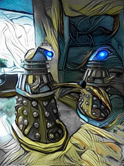 The Daleks Arrive (Steve Taylor (Photography)) Tags: art digital blue yellow grey weird strange newzealand nz southisland canterbury christchurch armaggedon daleks
