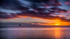 Sunrise over Alcoa Pier - Point Henry, Geelong (Chas56) Tags: geelong pointhenry victoria australia sunset sky clouds sea bay coriobay le longexposure ndfilter nd canon canon5dmkiii seaside reflection crane beach shore