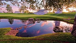 12th Green Sunset - Liberty National