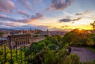 Colourful Sunset over the City of Edinburgh