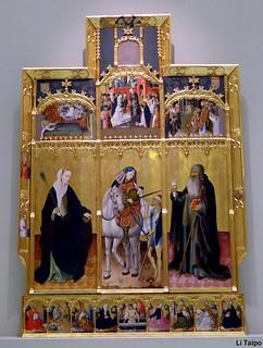Gonçal Peris Sarrià (Valencia, c. 1380-1451) Retablo de san Martín con santa Úrsula y san Antonio abad