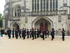 The Rifle Regiment's Band. (catrionatv) Tags: cathedral winchester outerclose army military parade uniforms instruments ceremony memorial freedomofcity fallen pages rememberance book rifleregiment