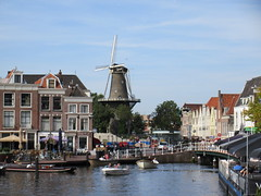 Molen De Valk from Galgewater canal, Leiden, Netherlands (Paul McClure DC) Tags: leiden southholland thenetherlands nederland aug2017 zuidholland canal windmill architecture historic scenery holland