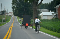 Car, buggy, and bike (afagen) Tags: pennsylvania lancastercounty amishcountry horseandbuggy buggy groffdaleconferencemennonitechurch wengermennonite oldordermennonite mennonite bicycle