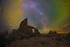 Winter skies over Turret Arch (Ben_Coffman) Tags: bencoffman bencoffmanphotography arches archesnationalpark turretarch panorama turretarchpanorama nightskypanorama nightsky milkyway milkywaypanorama archesnationalparkpanoramaworkshop panoramaworkshop
