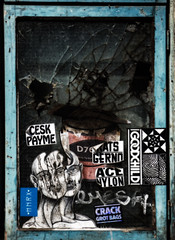 A Broken Window and a Broken Mind (Steve Taylor (Photography)) Tags: goodchild crack grotbags acenylon ratsgerno ceskpayme hnrx paint tin emptyminds likeaholeinthehead readytouse smahed broken cracked emesh brush art graffiti streetart sticker pasteup wheatup wheatpaste tag window dark blue black mauve white red scary eerie spooky frightening glass paper woman lady uk gb england greatbritain unitedkingdom london grain texture jdk