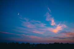 pink & blue (viewsfromthe519) Tags: sunset evening sky skyscape summer blue orange red pink purple golden yellow stthomas ontario canada clouds apartment view moon