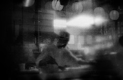 (flaxendream) Tags: 35mm film canona1 ilford3200 pulledfilm bw blackandwhite analog monochrome blur blurry kitchen chef restaurant toronto ontario filmphotography filmisnotdead