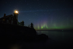 aurora m (ztsmith2) Tags: eagle harbor light lighthouse night aurora northern lights stars dark travel keweenaw lake superior up upper peninsula michigan puremichigan pure green pink