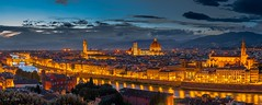 Twilight at Florence (leighchen) Tags: subset florence italy church dome river bridge coveredbridge reflection citylight building street tower castle cathetrol night