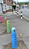 bollards to you (Harry Halibut) Tags: 2017©andrewpettigrew allrightsreserved imagesofsheffield images sheffieldarchitecture sheffieldbuildings colourbysoftwarelaziness south yorkshire publicartinsheffield public art streetart graffiti murals sheff1709103793 bollards abbeydale road painted eyes mouths faces colours sharrow