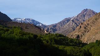 Aremd village and Toubkal peak, Atlas Mountains, Province Al Haouz, Morocco