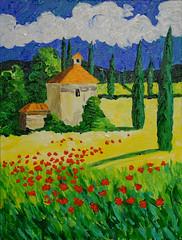 Villa in Tuscany (BKHagar *Kim*) Tags: bkhagar art artwork artday withmom painting paint acrylic villa cottage landscape