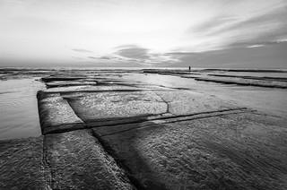 Black and White Daybreak Seascape on the Rock Platform