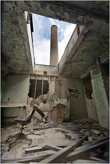 Scranton Lace (ronnymariano) Tags: abandonedamerica abandonedplaces 2016 abandoned building decay ceiling architecturalelement sky architecture chimney scrantonlace weather ruins 2017 ruined industry dirty rusty broken constructionindustry hole damaged old rundown factory smokestack openair garbage demolished spooky oldruin destruction builtstructure obsolete