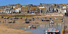 St, Ives at low tide. Panorama.  D3100. DSC_0296-0300. (Robert.Pittman) Tags: nikond3100 d3100 sigma18300mmf3563dcmacrolens 72mmuvfilter iamnikon panorama stitchedimage microsoftimagecompositeeditor ice beach harbour boats seafront lowtide sand people sky outdoor penwithpeninsula stives cornwall thewestcountry thesouthwest gbuk