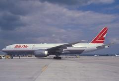 Lauda Air Boeing 777-200ER; OE-LPA, June 2000 (Aero Icarus) Tags: plane avion aircraft flugzeug slidescan