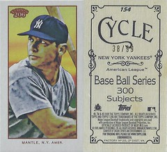 2009 Topps 206 / Cycle (#38/99) - MICKEY MANTLE #154 (Outfielder) (Baseball Hall of Fame 1974) (New York Yankees) (Treasures from the Past) Tags: 2009topps206 2009topps206mini baseballcard minibaseballcard topps parallelcard miniparallelcard mini cycle piedmont oldmill polarbear carolinabrights goldchromepiedmont goldchrome mickeymantle newyorkyankees hof halloffame baseballhalloffame outfield