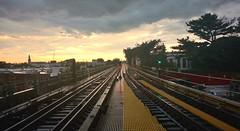 Fresh Pond Road (Majka Kmecova) Tags: mta subwayny subway lines railroadtrack railway sunset orangeclouds clouds dramaticsky beforestorm transportation train colors day mobilephoto newyorkphoto photograph photography cityphotography photo motorola